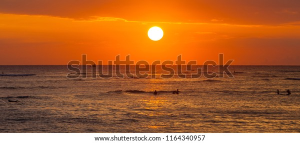 Sunset Waikiki Beach Honolulu On Oahu Stock Photo Edit Now