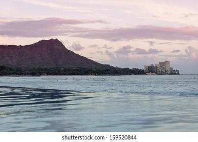 Sunset in Waikiki, Hawaii, over Diamond Head.