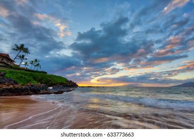 Sunset at Wailea Beach in Wailea, Maui, Hawaii