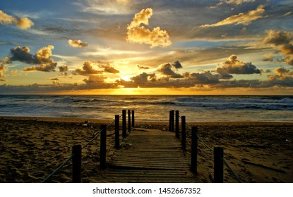 Sunset in walkway after storm in Portugal