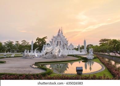 Sunset Wat Rong Khun , White temple, Chiangrai Thailand