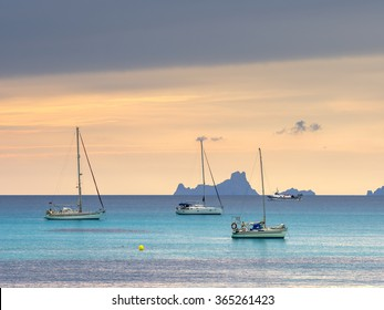 Sunset watching the Ibiza islands of Es Vedra i Es Vedranell seen from Formentera island.