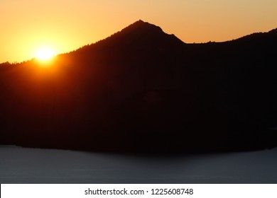 Sunset, Watchman and Watchman fire lookout at center background, Cloudcap Overlook, Crater Lake National Park, Oregon, USA
