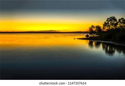 Sunset water horizon landscape. Sunset water panoramic landscape. Sunset water reflection view