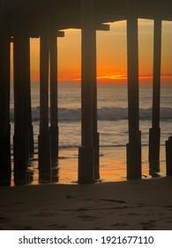 Sunset Water Reflections Under the Pier Ventura, Ca