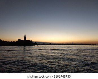 Sunset in the water in Venice, Italy