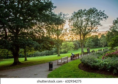 Sunset in Waterlow Park in London