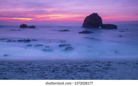 sunset and waves on the beach in Biarritz France