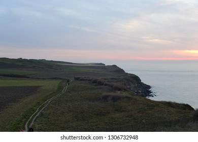 sunset to the west, Cap Blanc Nez, Opal Coast, Pas de Calais, North, France