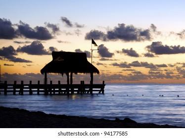 Sunset, West coast of Cozumel Island, Mexico