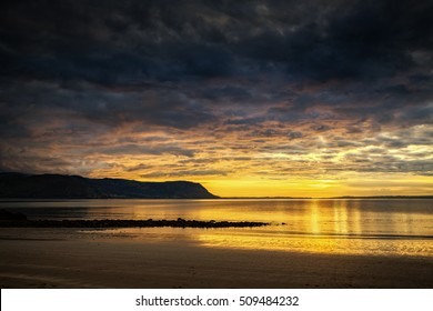 Sunset at West Shore beach, Llandudno in North Wales.