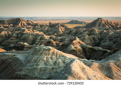 Sunset at at White River Valley Overlook at Badlands National Park, SD, USA