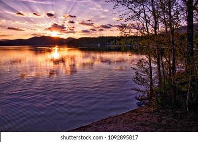 Sunset Whitefish Lake Montana