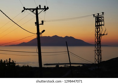 Sunset wiev of island Samothrace from gokceada