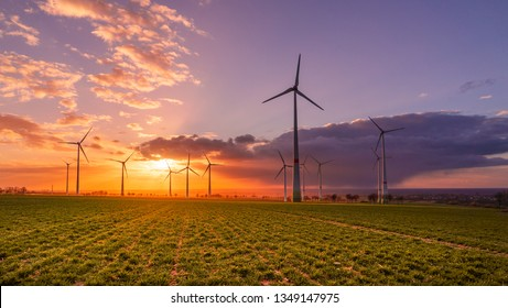 Sunset with wind turbines
