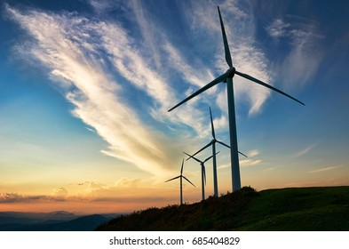 Sunset wind turbines