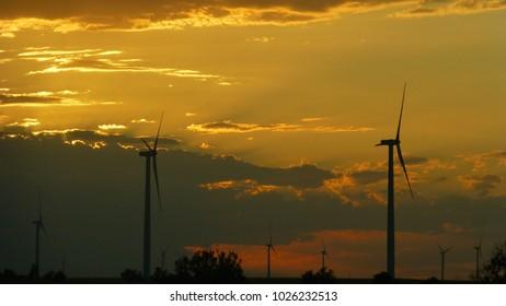 Sunset with windmills in Kansas
