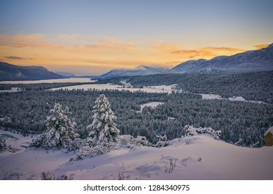 Sunset in Winter, Fairmont Hot Springs, British Columbia, Canada - Looking south, the rockies on the left, and Purcells on the right.