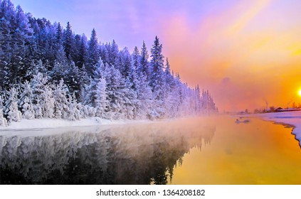 Sunset winter forest river landscape. Winter sunset forrest river. Winter forest river sunset scene. Sunset forest river in winter season