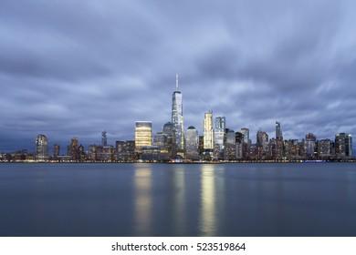 Sunset at the winter Manhattan, New York City