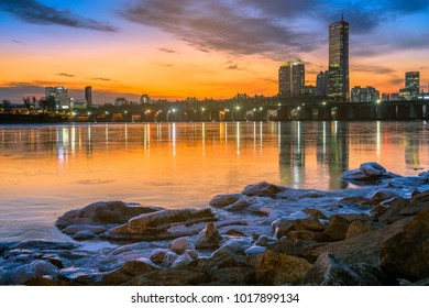Sunset in Winter season at Seoul,South Korea.