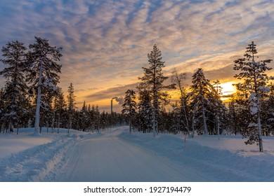 Sunset in a winter wonderland at Lapland Finland