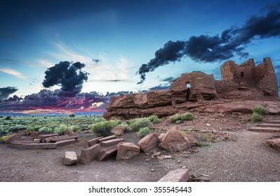 Sunset at Wukoki pueblo ruin in Wupatki National Monument near Flagstaff Arizona.