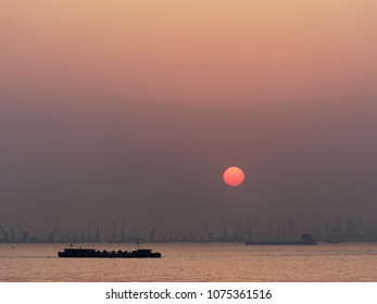 sunset at yangtze river in china