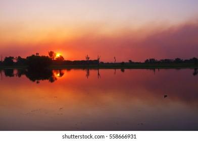 Sunset at yellow River in Kakadu national park has beautiful reflection, Darwin, Australia
