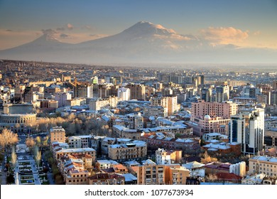 Sunset at Yerevan City, view with majestic Ararat mountain, Armenia
