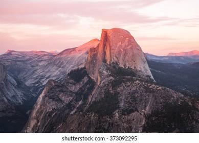 Sunset at Yosemite National Park, view to El capitan