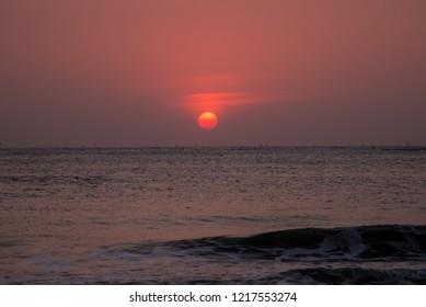 sunset in Yuguang Island, Tainan, Taiwan