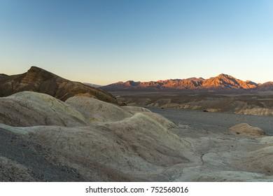 Sunset at Zabriskie Point in Death Valley, USA.