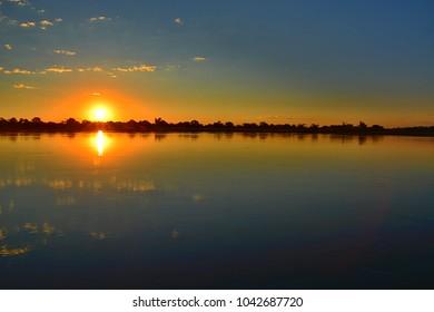 Sunset at Zambezi river