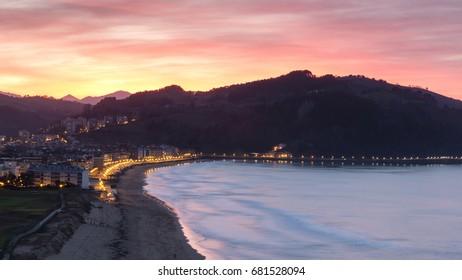 Sunset in Zarautz, Spain