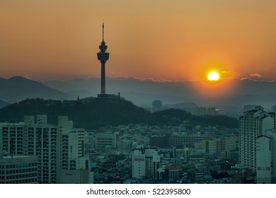 The sunsets in Daegu, Korea