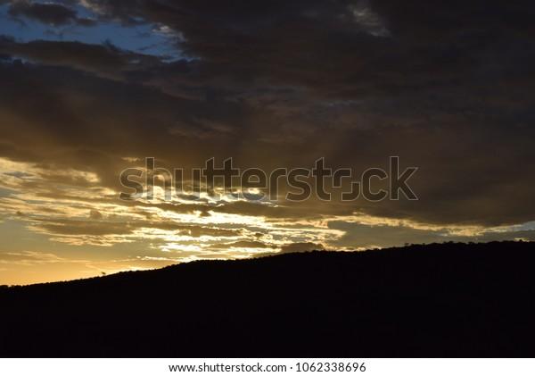 Sunset/sunrise twilight in Namibia, Africa