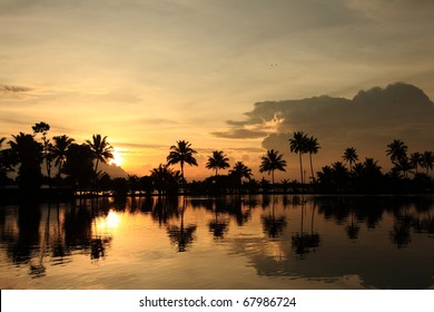 Sunsetting hours at backwaters of Kerala, India.