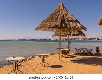 Sunshades beside the sea in Hurghada