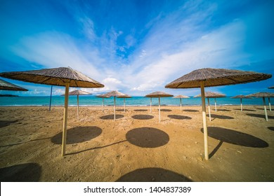 Sunshades on the Tsilivi Beach in summer on Zante Island, Greece