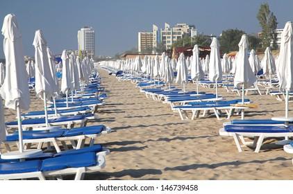 Sunshades at Sunny beach, Bulgaria