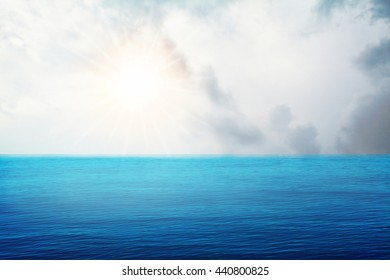 sunshine and blue ocean  background
