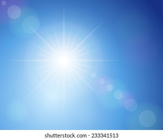 sunshine and blue sky illustration.