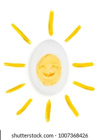 sunshine boiled eggs as concept of sunny weather and good mood