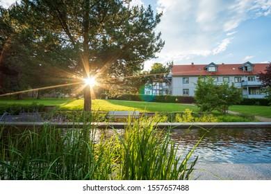 Sunshine in the city Park in the city of Ilsenburg