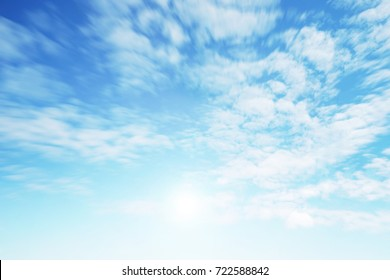Sunshine clouds sky during morning background. Blue,white pastel heaven,soft focus lens flare sunlight. Abstract blurred cyan gradient of peaceful nature. Open view out windows beautiful summer spring - Shutterstock ID 722588842
