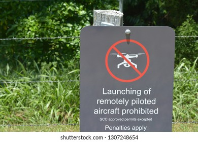 SUNSHINE COAST - JAN 27 2019:Sign on a fence warning against the use of drones in the area. drone flying restriction is growing worldwide as accidents keep occur because misused.