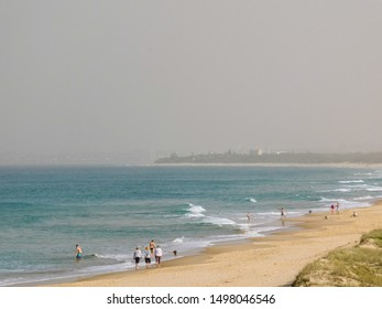 Sunshine Coast, Qld / Australia - September 7 2019: A thick smoke and dust haze blankets southeast Qld due to bushfires raging in Queensland and northern NSW, seen here over the Sunshine Coast