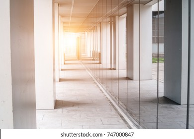 sunshine and corridor of modern office building exterior