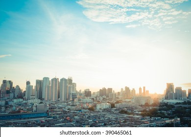 Sunshine morning time of Bangkok city. Bangkok is the capital and the most populous city of Thailand. , process in vintage style